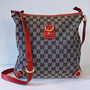 Vintage Gucci Crossbody Monogram Canvas Bag in Red